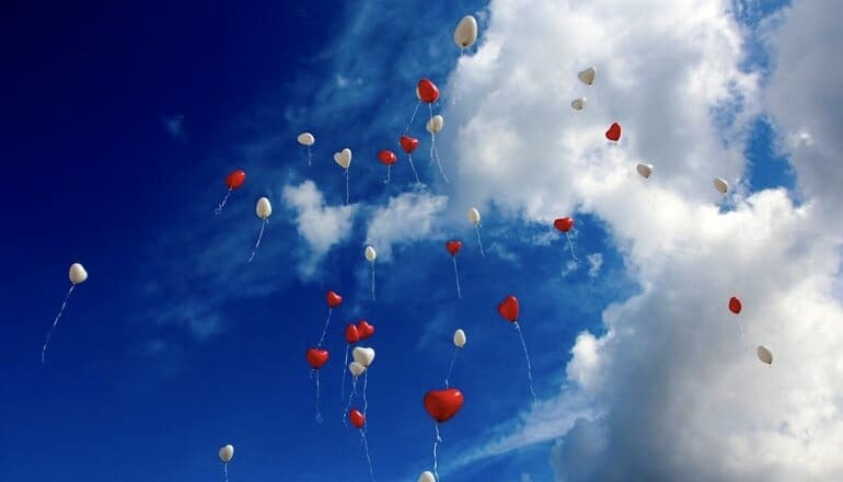 love around the world, balloons floating